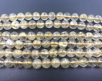 10mm Round Quartz Rutilated Gold Aa Grade Bead Semiprecious Gemstone Bead String Beading 15''L Jewelry Supply Wholesale Beads