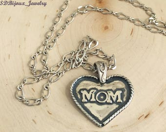 MoM Sterling Silver Necklace (Mothersday pendant) Mothers Day Gift