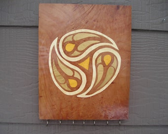 wood marquetry, marquetry, geometric design, made in Montana, woodworking, key holder, jewelry holder, necklace holder