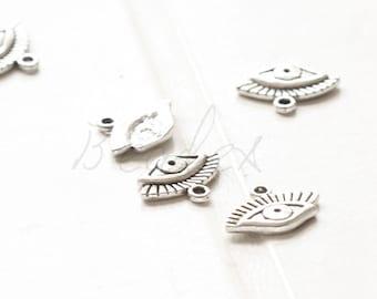 10 Pieces /  Eye / Oxidized Silver Tone / Base Metal / Charm (Y15781//O774)