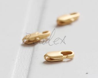 10 Pieces / Matte Gold Plated / Real Gold / Brass Base / Lobster Clasp (C336//I84)