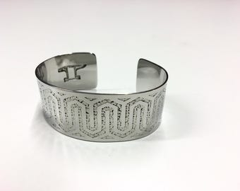 "Woven Lines Cuff - Etched Stainless Steel - 1"" wide"