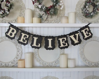 BELIEVE Banner,  Christmas Banner, Christmas Sign, Christmas Photo Prop, Christmas Decoration