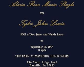 Navy and Gold Confetti Wedding Invitations - Simple Wedding Invitation - Classic Wedding - Custom Listing for Alicia Slagle