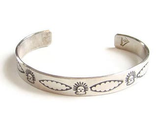 Vintage Southwestern Sterling Silver Overlay Cuff Bracelet Signed with Hallmark