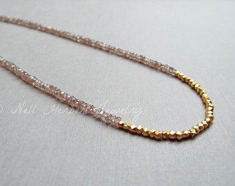 Natural Zircon and Vermeil Beaded Gemstone Necklace, Champagne Zircon Gemstone Jewelry, Beaded Gold Nugget Necklace