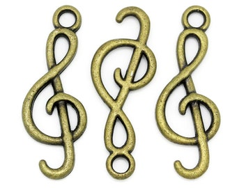 Bronze Charms : 10 Antique Bronze Music Note Clef Charms -- Lead, Nickel & Cadmium Free 10563.P