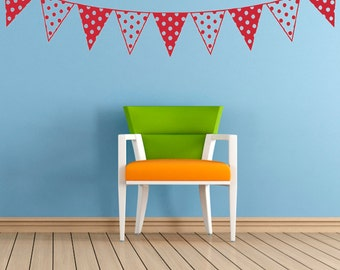 Bunting, Vinyl Wall Art Sticker Decal Mural. Home, Wall Decor. Nursery, Children's Bedroom, Playroom. Decorative, Spots