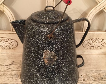 Antique Spatterware Enamel Teapot - Huge Farmhouse Tea Kettle  - Speckled Black pot with Red Handle