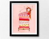 Wall Art Nursery Printable, Princess & the Pea, Instant Download Illustration by Sleepy Cloud Studios