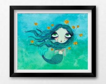 Wall Art Nursery Printable, Little Mermaid Nautical Art, Instant Download Illustration by Sleepy Cloud Studios