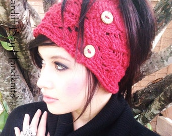 KNITTING PATTERN,Ponytail Hat,messy bun hat,teens,women,cable hat,knit hat,red,ear warmer,knit,chunky knit,openwork,holiday gift for her