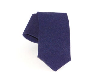 Navy blue linen neck tie. Dark blue tie standard or skinny made to order
