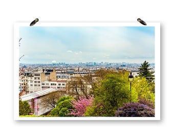 Paris France, Cherry Blossoms, Spring Photography, Fine Art Photography, Pink Spring Flowers,Paris Wall Art Paris Skyline,Paris Spring Print