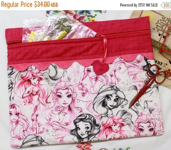 SALE Sketched Princesses Cross Stitch, Sewing, Embroidery Project Bag