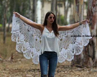 White wedding shawl Wraps Shawl Crocheted Lace Shawl lace knit shawl knit shawl scarf, Hand knit Clothing crochet shawl