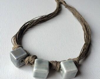 Ceramic grey cubes - linen necklace