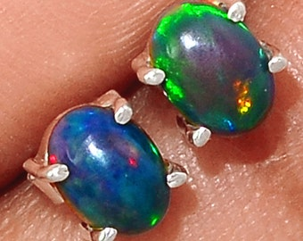Genuine Chalama Black Opal Solid Sterling Silver Stud Earrings. Untreated. All Natural. 4450 EE3780