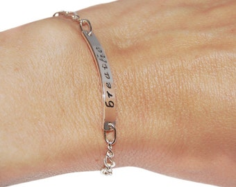 Sterling silver breathe bracelet, gift for her, sterling silver message jewelry, friendship bracelet, coworker gift, meditation bracelet