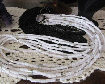White Multi Strand 28 inch Beaded Necklace Vintage