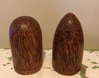 Vintage Gorgeous Rare Zebra Wood Indonesian Imported Salt and Pepper Shakers