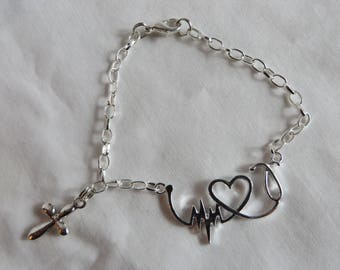 "6 7/8"" Heart Rate Bracelet with Cross Charm, Bracelet, Heart, Rate, Cross, Stethescope, Heart, Heart Rate"