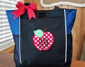 CUSTOM LISTING for Kristin - Teacher Tote with Red Apple