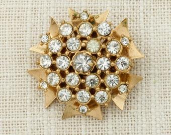 Gold Rhinestone Brooch Vintage Star Flower Pendant Broach Costume Jewelry | Vtg Pin 16E