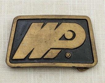 Brushed Gold Belt Buckle WPI Dyna Buckles Provo Utah Trapezoid Shape Vintage Belt Buckle 7F