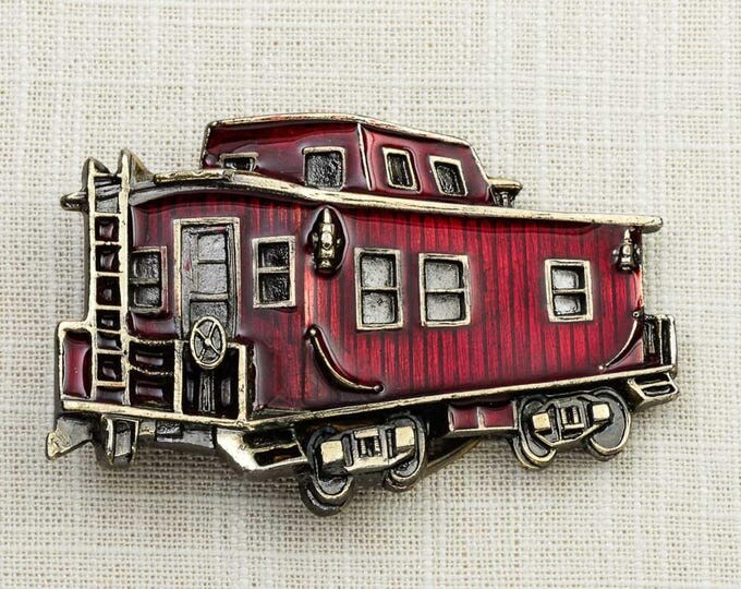 Red Caboose Belt Buckle Train Enamel Silhouette Made in USA 1979 Vintage Belt Buckle 7F