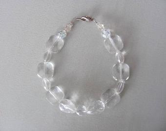Vintage Crystal Bracelet, Clear Glass Crystals,