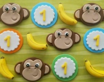 12 Fondant cupcake toppers--monkeys and bananas