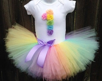 Pastel Rainbow Tutu Outfit with Matching Headband | First Birthday Rainbow Outfit |  1st Birthday