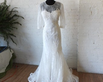 Lace sleeves sheer back wedding dress Dreamy bridal gown