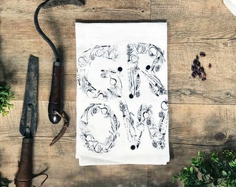 Grow Cotton Kitchen Towel - Hand Screen Printed