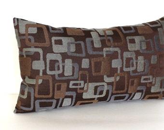 Lumbar Pillow Cover Brown Pillow Cover Geometric Blue Grey Pillow Decorative Pillow Modern Throw Pillow Cover 12x24 12x21 12x18 12x16 10x20