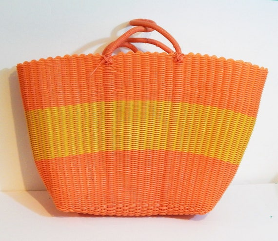 Vintage Plastic Bag Plastic Shopper Woven Plastic Bag
