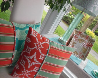 Outdoor Flower Pillow - Coral Pillow - Turquoise Pillow - Aqua Flower Pillow - Patio Pillow - Stripe Pillow - Porch Pillow - Outdoor Pillow