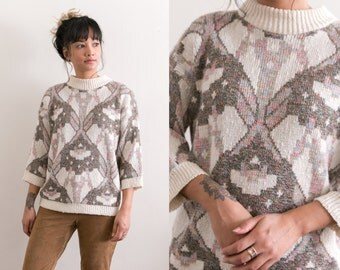 Cream Tribal Sweater / Pastel Chunky Knit Sweater / Abstract Earth Tones Oversized Geometric Pullover Retro Jumper Grandpa Hipster Tapestry