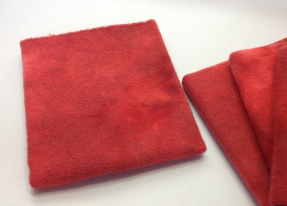 Fiesta Red, Fat 1/4 yard,  Hand Dyed Wool Fabric for Rug Hooking and Applique, W281, Poppy Red, Tomato Red, Orange Red