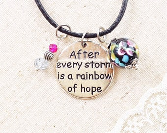 Motivational quote pendant necklace, after every storm is a rainbow of hope inspirational words, gift for women in need of encouragement