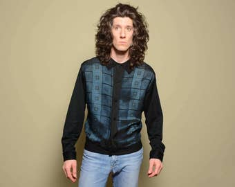 mens vintage knit shirt 50s 60s knit shirt long sleeve midnight blue black rockabilly 100% acetate 1950 1960 gangster L large ban lon