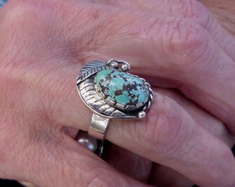 R85-Kingman Spider Web Turquoise Ring size 7.5--FREE SIZING-- Sterling Silver Ring-- Gemstone, Vintage Style -Handmade