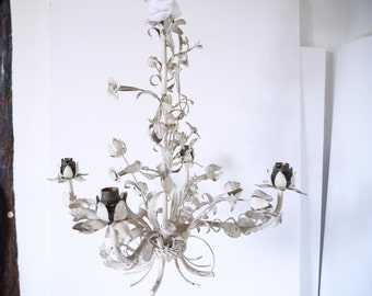 French Vintage Tole Chandelier White floral Vintage Shabby Chic Cottage Romantic Elegant Whimsy