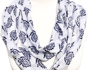 Infinity / Loop Scarf - White Scarf with Navy Flowers