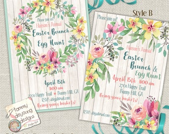 Easter Brunch Invitation, Easter Egg Hunt Invite, Easter Party Evite, Printable Spring Party, Bridal Shower, Floral Wedding Announcement