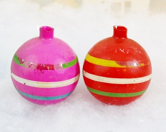 Vintage Unsilvered Painted Christmas Tree Ornaments Set of 2 Two Opaque Red Pink Green White Striped No Caps WWII Era 1940's