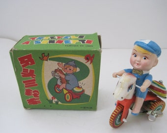 Tin Litho Ringing Tricycle Toy