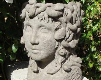 MEDUSA HEAD PLANTER Solid Stone Hand Crafted Original Greek Roman Goddess Face Planter, Cement Concrete Outdoor Garden Atrium Flower Pot Art