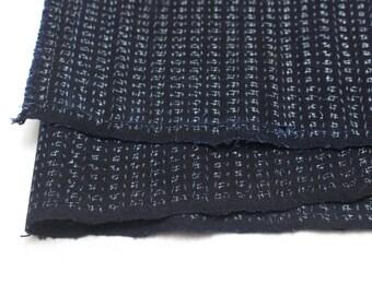 Hand Loomed Antique Cotton. Japanese Kasuri Kagasuri Ikat. Dark Indigo Blue Black. (Ref: 1598C)